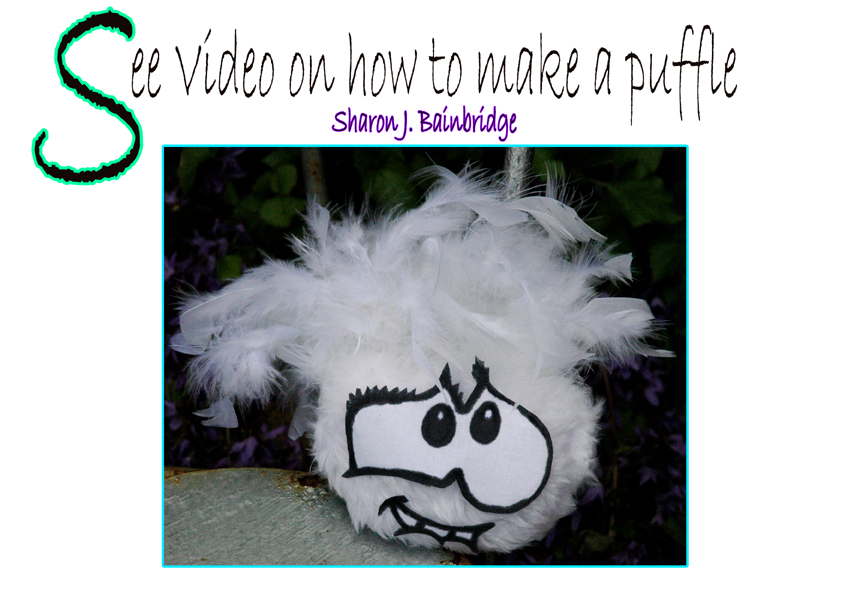 How to make a puffle toy with feathers
