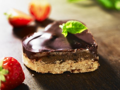Valentine Dessert recipe: Millionaires Shortbread with Black Olive Caramel