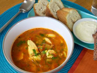 Recipe: Chunky Fish Soup with Warm French Bread and Garlicky Crème Fraiche
