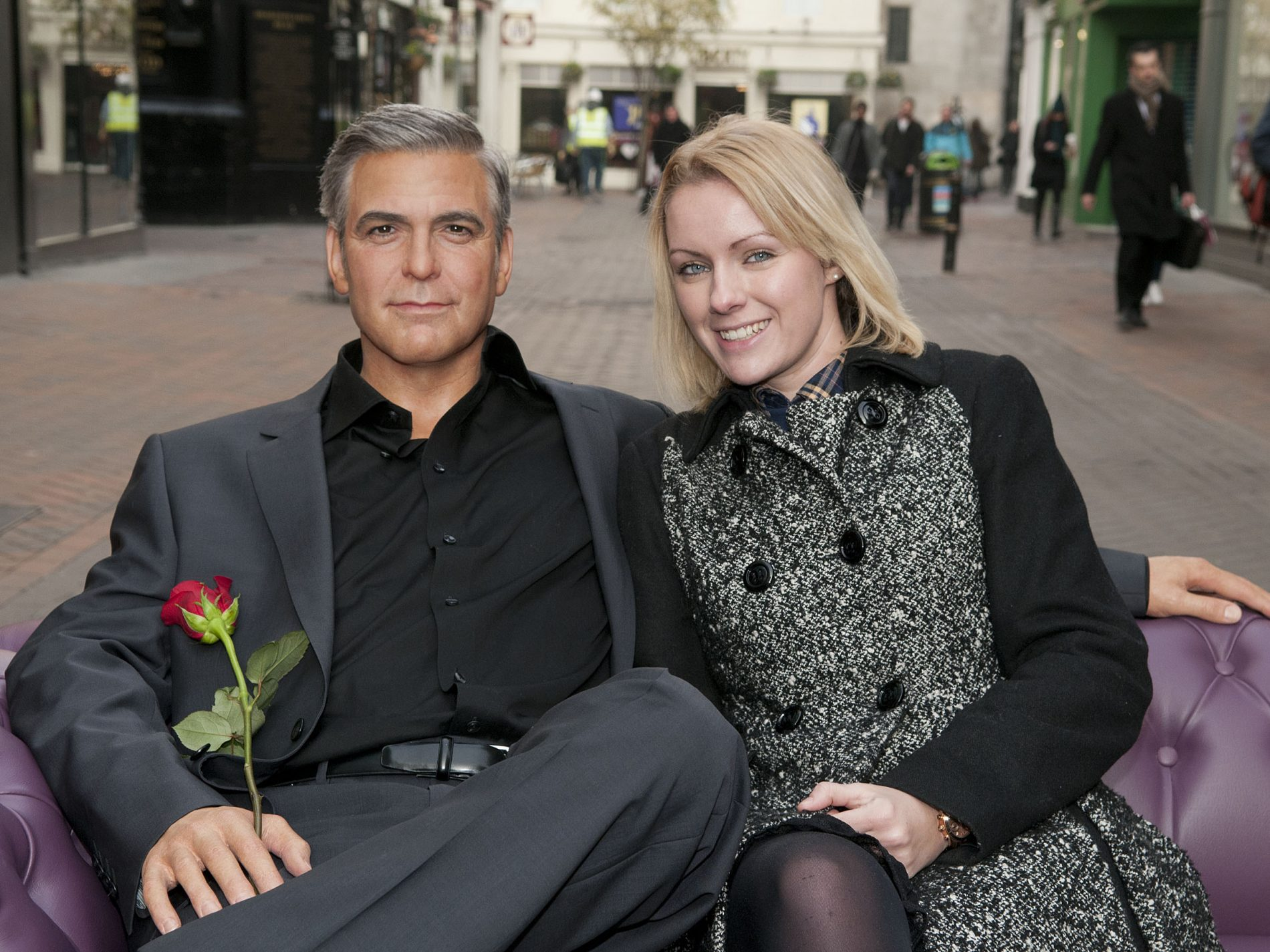 Photo story: FANS GET UP CLOSE AND PERSONAL WITH GEORGE CLOONEY ON AN ALFRESCO PRE-VALENTINE'S DAY DATE IN CARNABY STREET