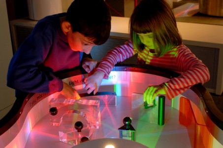 science museum Children playing with light table in Launchpad.
