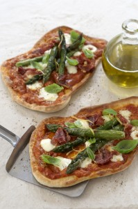Tomato, Parma Ham and Asparagus Pizza