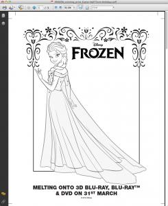 Disney Frozen colouring sheets Easter half term holidays