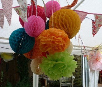 paper balls and bunting