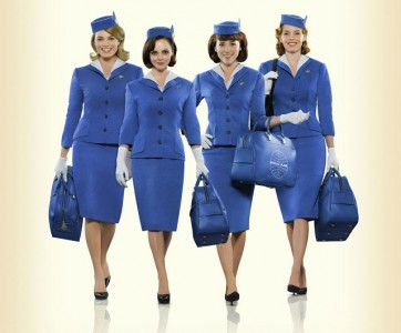 Pan Am series girls in uniform vintage fashion