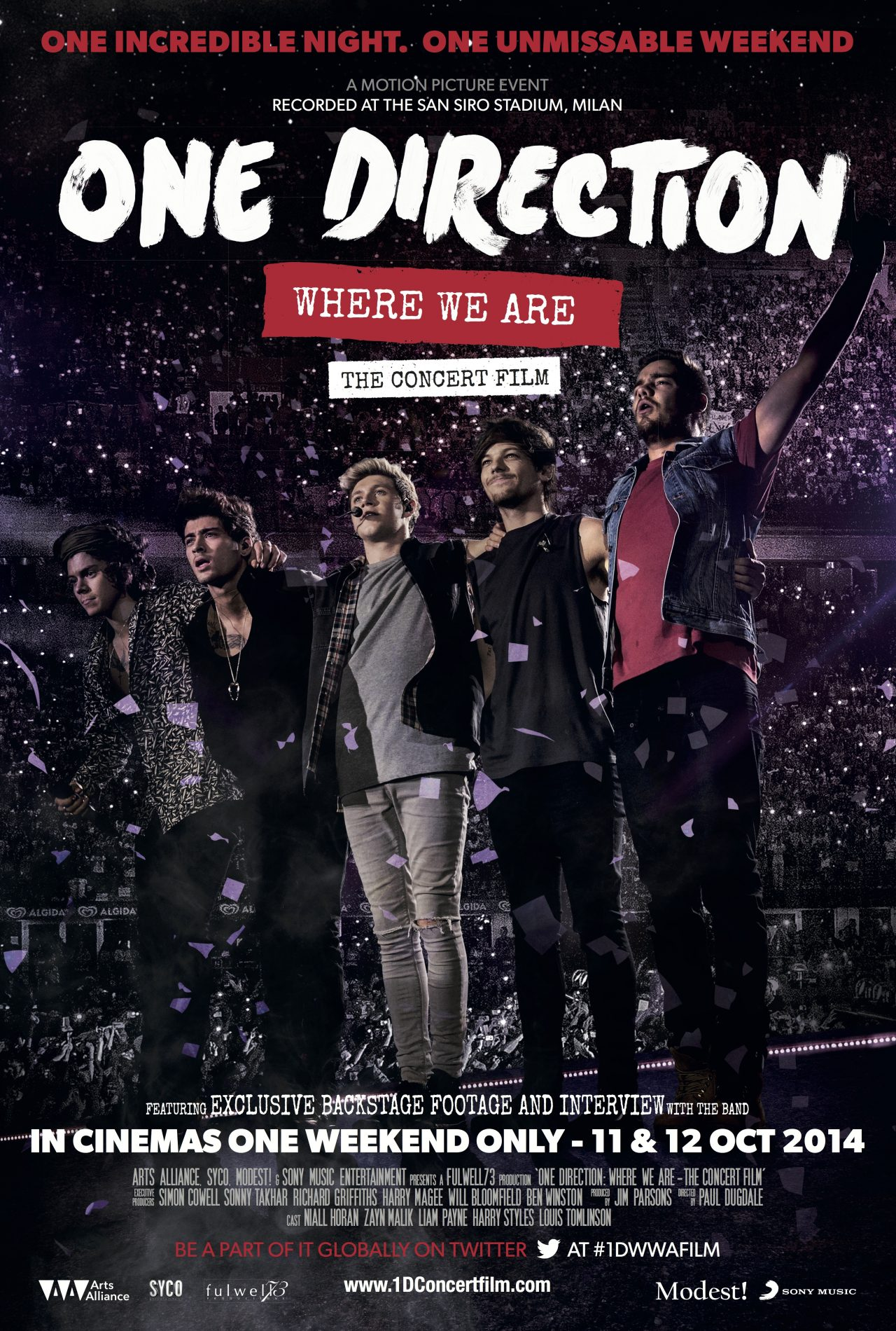 win 1 of 2 pairs of tickets and film posters to one direction where