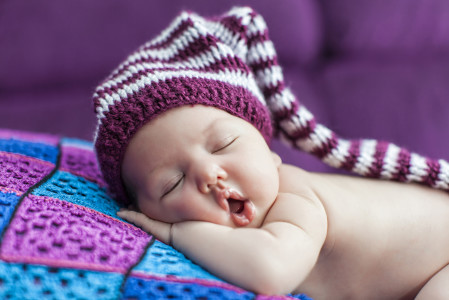 New Year's resolutions Dreams Baby sleeping purple background