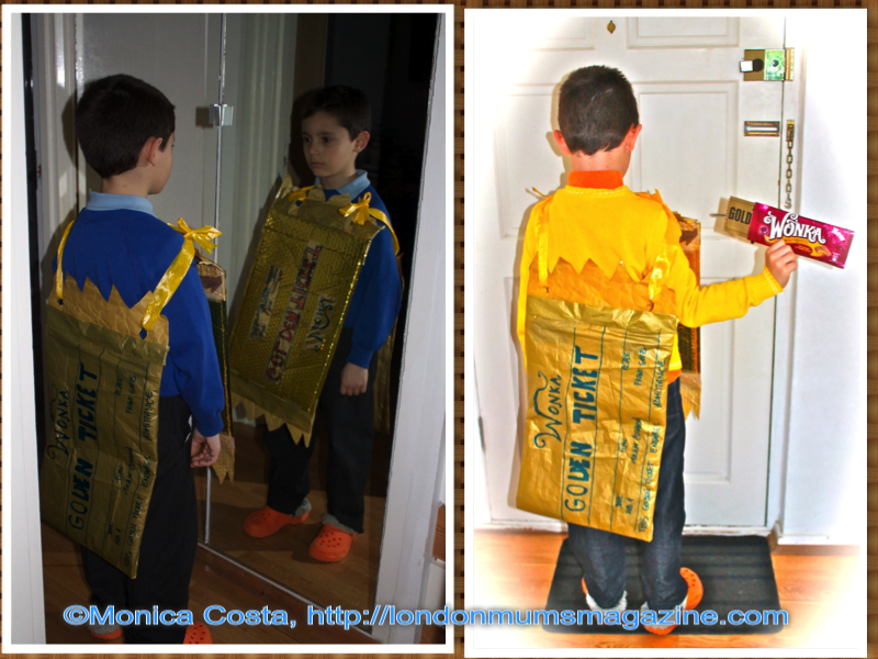 world book day golden ticket costume collage