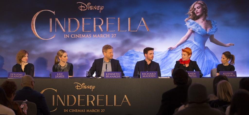 Left to right: Holliday Grainger (Anastasia); Lily James (Cinderella); director Kenneth Branagh; Richard Madden (Prince); costume designer Sandy Powell and producer Allison Shearmur.