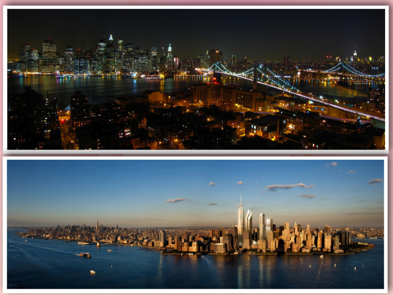New York Skyline from above collage