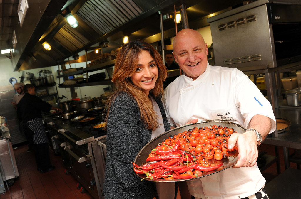Chef Aldo Zilli with Sanjeeta Bains.Copyright 2013 © Sam Bagnall