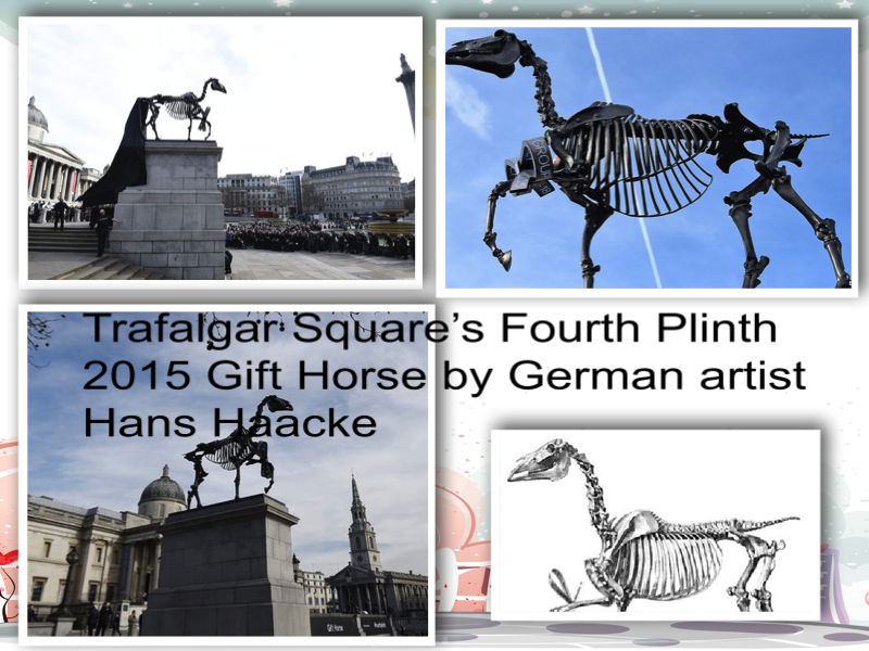 Trafalgar square london Gift Horse by German artist Hans Haacke collage