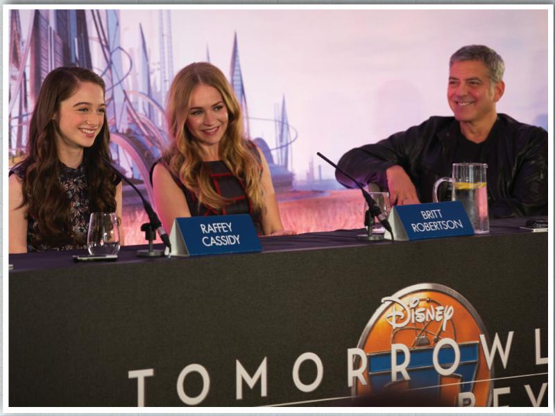 Raffey Cassidy, Britt Robertson and George Clooney