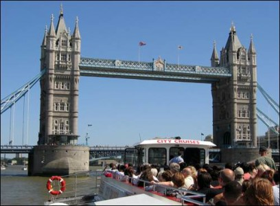 City Cruises River Thames family fun Customer view of Tower Bridge