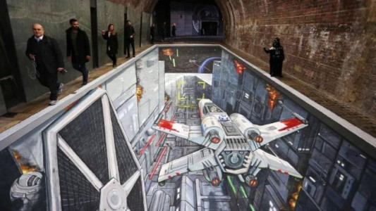 SW death star-trench-run-recreated-in-3d-artwork-in-london