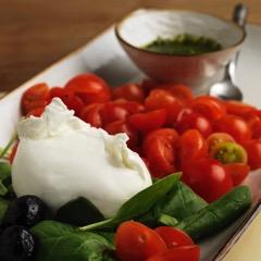mozzarella, basil and tomatoes