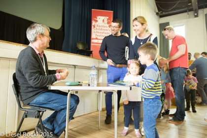 Axel Scheffler signing at the Barnes Children's Literature Festival 2015