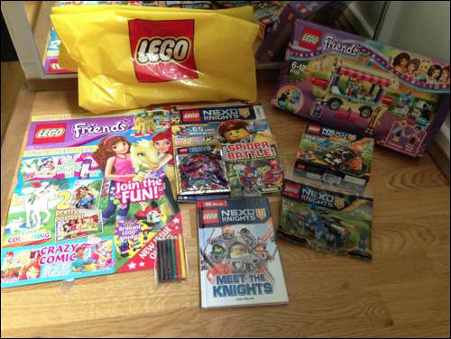 Kids Club Amelie & Frankie review Lego Nexo Knights sets at Legoland goodie bags