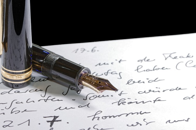 fountain pen writing letters