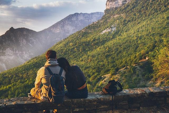 couple travelling mountains work trip romantic getaway kids parenting